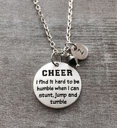 hard to be humble, stunt, jump, Tumble, Silver Necklace, Cheerleader Necklace, love to Cheer, Cheer Necklace, Cheerleader Jewelry, Cheer mom by SAjolie, $19.95 USD