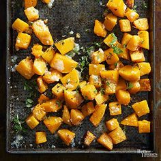 Crispy Parmesan-Roasted Butternut Squash Salt, pepper, parmesan, and your choice of spice lend butternut squash a boost of flavor in this simple side dish. Roasted Vegetable Recipes, Roasted Root Vegetables, Veggie Recipes, Vegetarian Recipes, Cooking Recipes, Healthy Recipes, Recipe For Roasted Butternut Squash, Veggies, Vegetarian Grilling