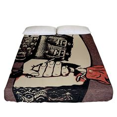 Flowers for the Submissive - kinky artwork, naughty illustration Fitted Sheet (California King Size) Bed Sizes, California King, Submissive, King Size, Kinky, Creative Design, Duvet Covers, Pillow Cases, Bedding
