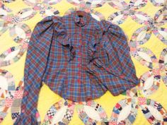 1970's Tartan Plaid Blouse  with Ruffles and by GreyvilleVintage, $48.00