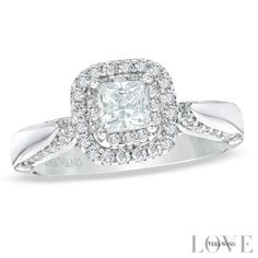 Vera Wang LOVE Collection 7/8 CT. T.W. Princess-Cut Diamond Double Frame Engagement Ring in 14K White Gold