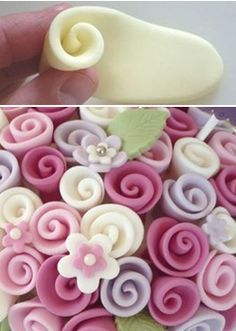 How to make simple ribbon roses (Cakes Decor). @Jamie Wise Parker-Howard thought you might be able to use these.