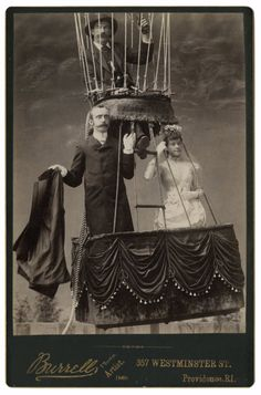 """The September 27, 1888, wedding of Margaret Buckley and Edward T. Davis was held at the Rhode Island State Fair at Narrangansett Park in Providence. An article in Frank Leslie's Illustrated Newspaper estimates that 40,000 watched as Davis and Buckley entered the """"specially prepared 'bridal car' of the mammoth balloon Commonwealth, held down by 24 men at the guy ropes."""" After the ceremony, aeronauts James Allen and his son James K. directed the balloon skyward."""