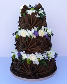 Beautiful Dark Chocolate Cake With Flowers.