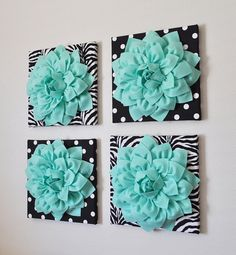 Wall Decor SET OF FOUR Mint Dahlias on Black and White by bedbuggs