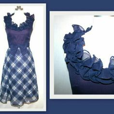 """1960s blue plaid dress by Miss Elliette California Adorable navy blue 1960s vintage dress by Miss Elliette California.  The sleeveless dress has a ruffled neckline. There is a belt with a bow attached to the dress.   Metal back zipper.   The sheer fabric feels like a cotton blend.  The A-line skirt is in a bias cut plaid fabric.  Fully lined.    Marked size 6 (vintage sizing is smaller than modern sizing )  Bust 36"""" waist 25"""" hips 40"""" length 43"""" Vintage Dresses"""