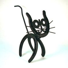 Cat Horseshoe Art by CrookedCreekStudio1 on Etsy, $30.00