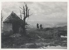 Two women looking over Verdun, France during WWI