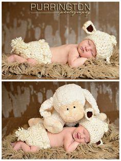 newborn baby with lamb fun creative newborn baby pose ideas © Purrington Photography Bemidji Photographer