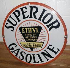 Rare Original Superior Ethyl Gasoline Porcelain Sign