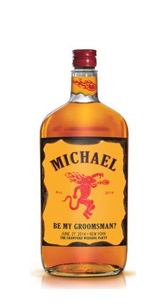 Set of 6 Groomsman / Bridesmaid & Best Man Fireball Whiskey Style Labels - Be My Groomsman - OR Groomsman Gift - Wedding Party