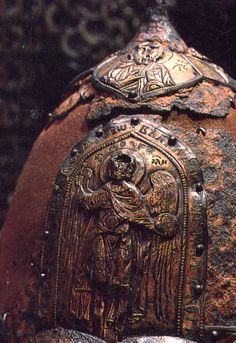 helmet of Prince Yaroslav  Vladimir-Suzdal rus, end of 12th century  iron and chased silver
