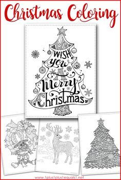 Christmas Coloring Pages for adults and kids! Color a reindeer, Christmas tree, and more with this festive free coloring set! Free Christmas Coloring Pages, Christmas Coloring Sheets, Free Coloring Pages, Printable Coloring Pages, Coloring For Kids, Coloring Set, Christmas Activities For Kids, Craft Activities For Kids, Christmas Printables