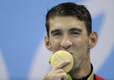 Gold!  Michael Phelps, men's 4x100-meter freestyle.  Rio