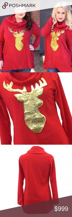 ✨Hello Christmas!! I have an adorable Christmas top perfect for the Holidays. Celebrate this beautiful time of year in style with this red top and gold sequined reindeer. No trades, price FIRM unless bundled. 10% OFF 3 + Boutique items through bundle. All Boutique purchases come with a FREE item to compliment the outfit. Angelic Threads Boutique Tops