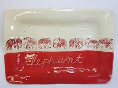Red elephant platter
