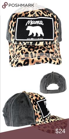 8f7a7c84736    Mama Bear Leopard and Black Baseball Hat    Fashionable and comfy! Keep