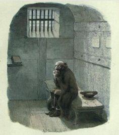 George Cruikshank - Fagin in his jail cell - Oliver Twist