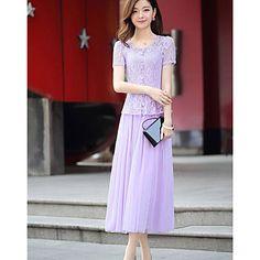 Women's Vintage Casual Cute Micro Elastic Short Sleeve Midi Dress (Lace) – EUR € 32.98