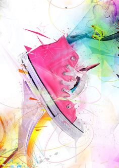 shoe with art background, great for tween!