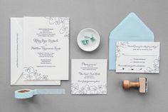 Aerialist Press // Swirl Letterpress Wedding Invitation // Modern, Swirl Invitation
