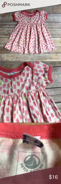 Petit Bateau Dress Size 6 months Petit Bateau Dress in excellent used condition. Adorable romper and animal print (giraffes and teddy bears). Pink trim around collar and cuffs. Petit Bateau Dresses Casual