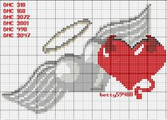 Heart angel wings x-stitch Seed Bead Patterns, Beading Patterns, Cross Stitch Patterns, Crochet Patterns, Angel Y Diablo, Ange Demon, Pixel Pattern, Angel And Devil, Ladder Stitch