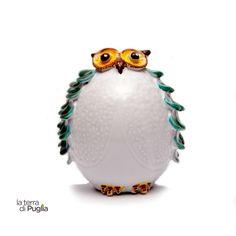 Gufo portafortuna di ceramica decorato a mano - Shop LaTerradiPuglia.it