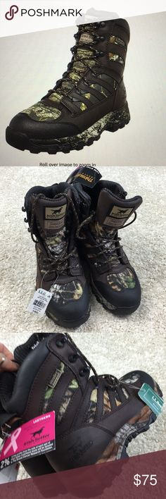 NWT Irish Setter Ladyhawk 1000g hunting boots camo brand new with Tags sz 6 waterproof 1000gram big game hunting boots never worn by Irish setter. These run small so if you are 4.5-5 or even for youth size would fit in these great! Expensive boot. I paid 159.99 and cannot return. Has scent and Oder ban and your feet will not get cold in these. Missy oak breakup pattern bought at LL Bean Irish Setter Shoes