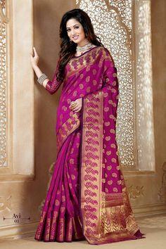 Nurjahaan Tussar Silk Sarees in Red Violet ColourNurjahaan Tussar Silk Sarees in Red Violet Colour
