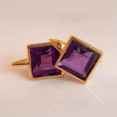 Beautiful pop of colour! King Design, Color Pop, Colour, Gold Set, Gem S, Princess Cut, Handcrafted Jewelry, Amethyst, Cufflinks