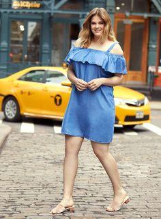 Womens Light Wash Bardot Denim Dress- Blue
