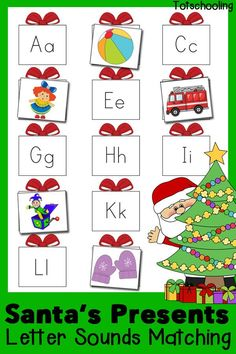Free Christmas printable for practicing beginning letter sounds. Help Santa fill all the presents with the correct toys!