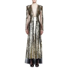 Alexander Mcqueen Sequined Long-Sleeve V-Neck Gown ($50) ❤ liked on Polyvore featuring dresses, gowns, gold, sequin gown, long sequin dress, see through dress, long sleeve evening gowns and long sleeve evening dresses