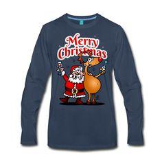 Merry Christmas longsleeve T-Shirt.  #Kerstmis #Tshirt #sweater #longsleeve #Kersttrui #Kerst #Kerstfeest #fashion #Kerstsweater #Spreadshirt #Tekenaartje  Kerstmis: de Kerstman en zijn rendier heffen hun glas wijn en wensen iedereen een vrolijk Kerstfeest.