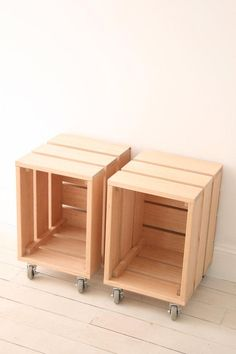 Assemble a mobile bedside library with a pair of rolling crate-style tables. #etsy