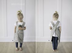 I made these pinafore aprons as garden aprons, but they'd be great in the kitchen or craft room too.  I love how the cross back eliminates any strings, and the un-dyed medium weight Lithuanian linen (sourced from Etsy) is absolutely lovely.  Sunny's been wearing her's all over, and it's…