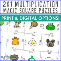 2 Digit by 1 Digit Multiplication Math Centers, Games, or Review Activities |  3rd, 4th, 5th grade, Activities, Google Apps, Homeschool, Math, Math Centers, Math Test Prep