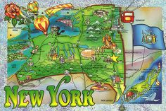 Travel infographic New York State Map Postcard Usa Travel Map, New Travel, Road Trip Map, Road Trips, Tourist Info, Pictorial Maps, Map Globe, State Map, Vintage Maps