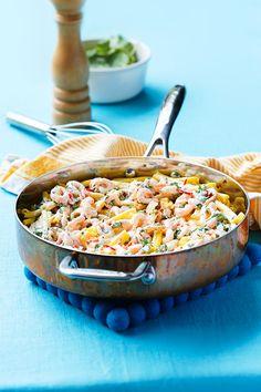 Skånemejerier | Het räkpasta A Food, Food And Drink, Fish And Seafood, Pasta Recipes, Serving Bowls, Deserts, Snacks, Eat, Tableware