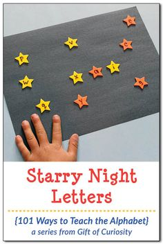 This alphabet activity will appeal to kids who love the night sky as well as kids who enjoy playing with stickers. Help your child create a beautiful starry night sky with letter stars. As your child places the stars on his artwork, discuss the letter sounds together to support his learning.|| Gift of Curiosity
