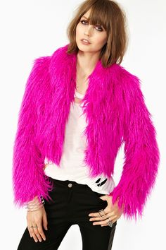 Nasty Gal, fashion, clothes, clothing, tops, jackets, faux fur, pink, Wild Child Faux Fur Coat