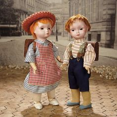 """""""Fascination"""" - Sunday, January 8, 2017: 126 Highly-Sought All-Original Pair of French Bisque Character Dolls Designed by Poulbot"""