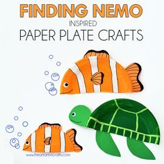 Finding Nemo Inspired Paper Plate Crafts (I Heart Arts n Crafts) Ocean Animal Crafts, Animal Crafts For Kids, Craft Activities For Kids, Toddler Crafts, Paper Plate Crafts For Kids, Paper Crafts For Kids, Crafts To Make, Arts And Crafts, Rainbow Fish Crafts