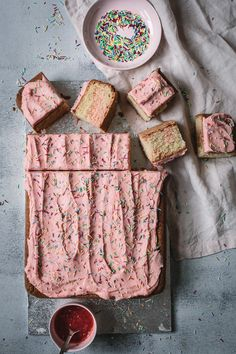 Looking for a gloriously BIG, LIGHT, FLUFFY, EASY, NO FUSS cake to feed a big crowd? You need my Gluten Free Strawberry Swirl Slab Cake for your next party.