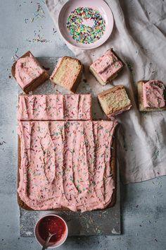 Gluten Free Strawberry Swirl Slab Cake