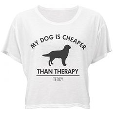Dog Is Cheaper Than Therapy Teddy Bella Flowy Boxy Crop Top TShirt ** Check this awesome product by going to the link at the image. (Note:Amazon affiliate link)