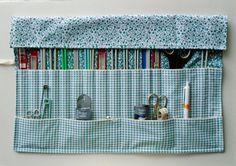 Fabric Needle Holder, Handmade Tool Roll, Knitting Needle Case, Notions Organiser, Large Tool Storage, Crochet Hook Holder, Fabric Tool Roll,
