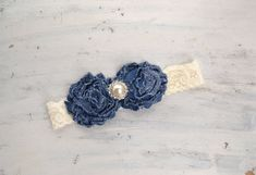Denim Rose Headband- newborn photo prop, babies, girls, women, shabby chic, country on Etsy, $8.50