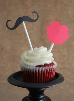 Mustache and Lip Cupcake Toppers